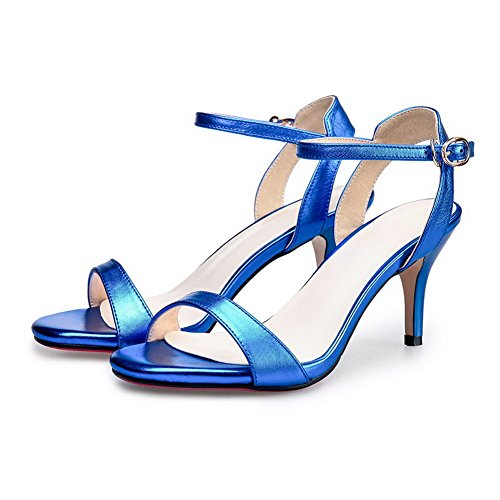 AgooLar Mujeres Puntera Abierta Tacón de aguja Sólido Hebilla Sandalia Azul
