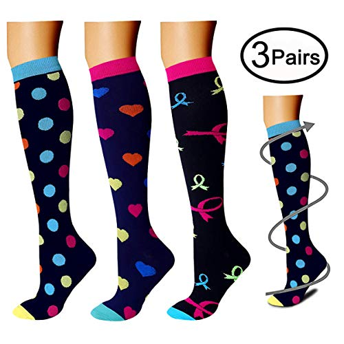 Compression Socks (3 Pairs), 15-20 mmHg is Best Athletic & Medical for Men & Women, Running, Flight, Travel, Nurses - Boost Performance, Blood Circulation & Recovery (Large/X-Large, Assorted ()