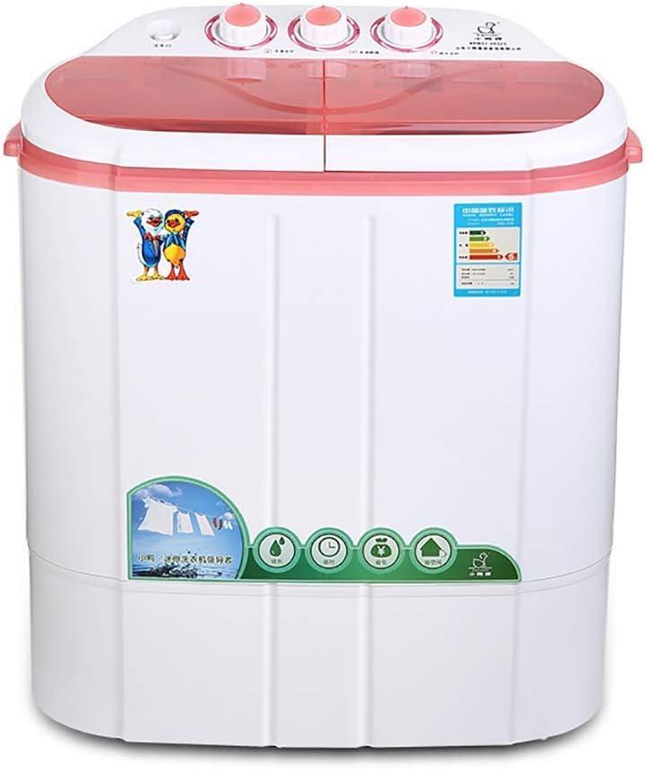 WCY Lavado de la máquina Portable ROMX, Mini for Compacto de lavandería, Pequeña Semi-Compacto automático Lavadora con el Reloj Programador Doble Tina Lavadora (Blanco, 5,5 Libras) yqaae