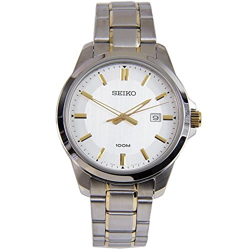 Seiko-Men-Silver-Dial-Two-Tone-Plated-Stainless-Quartz-Watch-SUR247