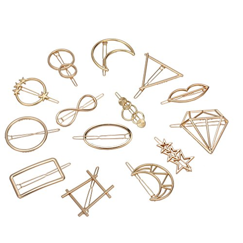 ist Dainty Hair Clips Gold Hollow Geometric Alloy Hairpin Hair Clamps,Circle,Triangle and Moon Multiple Pattern for Women Girls (Gold) ()