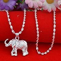 Jaywine2 Women Jewelry 925 Silver Wedding Animal Elephant Necklace Pendant with Chain