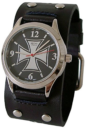 Beyond Round Men's Iron Cross Watch - Black Studded Genuine Leather Wide Cuff Band (Studded Cuff Watch)