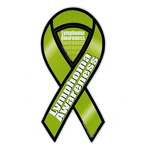 Magnetic Bumper Sticker - Lymphoma Cancer Support Ribbon - Awareness Magnet - 3.75