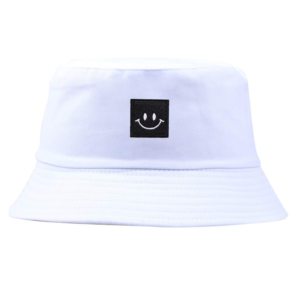 Kcatoowujkg Unisex Bucket Hat, Smiley Face Patch Solid Color Folding Fisherman Hat Outdoor Men Women Bucket Cap Smiley Face Patch Solid Color Folding Fisherman Hat Outdoor Men Women Bucket Cap Beige