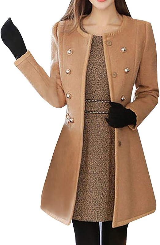 Women Hot Sale Winter Lapel Wool Coat Trench Jacket Big Pockets Overcoat Outwear
