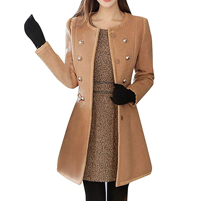 Cappotti invernali a maniche lunghe doppio petto cappotto cammello per le donne