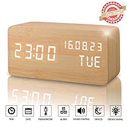 Wooden LED Digital Alarm Clock, Displays Time Date Week And Temperature, Cube Wood-shaped Sound Control Desk Alarm Clock for Kid, Home, Office, Daily Life, Heavy Sleepers (Wood)