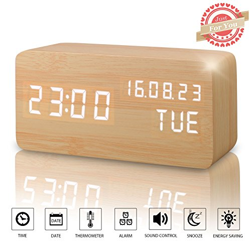 Wooden LED Digital Alarm Clock, Displays Time Date Week And Temperature, Cube Wood-shaped Sound Control Desk Alarm Clock for Kid, Home, Office, Daily Life, Heavy Sleepers (Sound Wood)