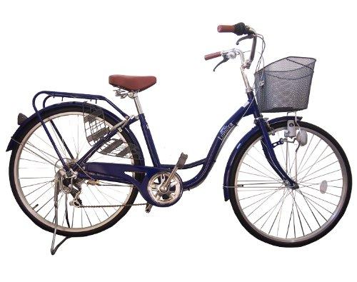 Lupinusルピナス 自転車 26インチ LP-266SD-RD 婦人車 シマノ外装6段ギア ダイナモライト パイプキャリア 100%完成車 B008GY8EFAネイビー
