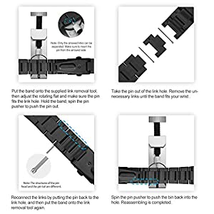 JETech Replacement Band for Apple Watch 42mm and 44mm Series 1 2 3 4, Stainless Steel, Black