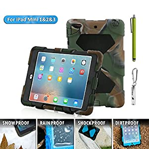 Aceguarder Apple Ipad Mini 1&2&3 Case Waterproof Rainproof Shockproof Kids Proof Case for Ipad Mini 2 Mini 1&2(gifts Outdoor Carabiner + Whistle + Handwritten Touch Pen) (CAMO-BLACK)