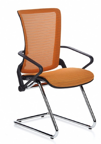 HJH Office 652137 Besucherstuhl ERGOHUMAN LII Chrom Netz-Stoff, orange