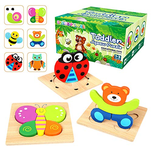 Springflower Toddler Puzzles,6 Pack Wooden Animal Jigsaw Puzzles, Early Educational Preschool Toys, Best Xmas gift for Toddlers, Boys, and Girls 1 2 3 Years Old