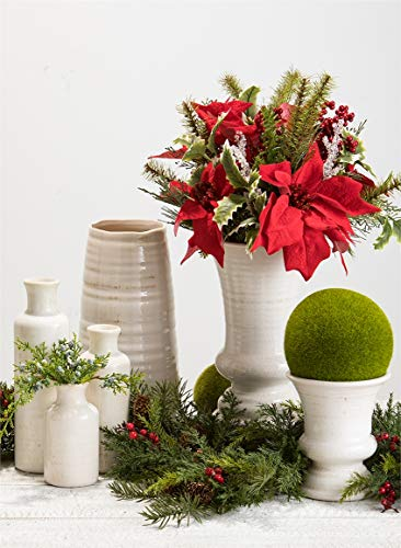 "Sullivans Ceramic Vase, 11.5 x 5 Inches, Distressed White (CM2496) - Stylish ceramic vase makes a great wedding, housewarming or birthday gift Ideal decorative touch to any home with or without floral or greenery added Product Dimensions: 5""L x 5""W x 11.5""H; Waterproof - vases, kitchen-dining-room-decor, kitchen-dining-room - 51xTYlSWx5L -"