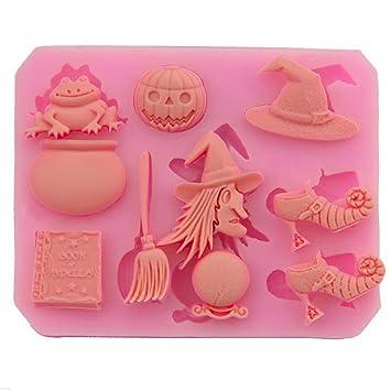 Fyuan Mini Halloween suministros calabaza Witch Frog para bricolaje pastel Pudding fondant Candy Baking decoración molde herramientas silicona ...