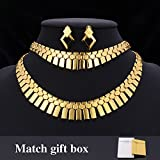 GDSTAR 18K Gold Plated Africa Choker Necklace Bracelet Earrings Set For Women Fashion Jewelry & Gift Box African Jewelry Set