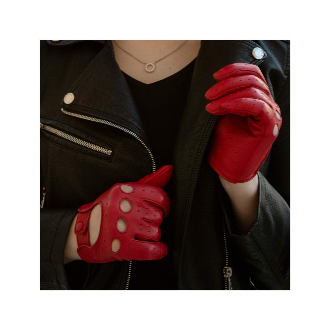 Harssidanzar Womens Luxury Italian Lambskin Leather Driving Gloves Unlined Vintage Finished, Red, S