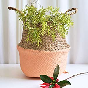 mokasa Handmade Wicker Basket Bamboo Seagrass Flower Pot Storage Baskets Foldable Straw Patchwork Rattan Seagrass Belly Garden Decor,Yellow