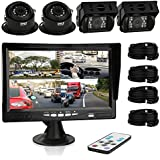 Pyle Car Rear View Camera and Video Monitor, IP68 Waterproof, Commerical Grade, 4 Cameras, Night Vision, 7-Inch LCD Display for Trailer, RV, Trucks, Pickup Trucks, Cargo Vans, etc. (PLCMTRS77)