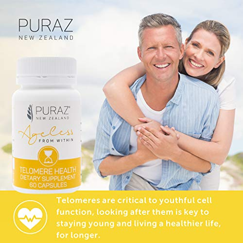 51xTZJMgHpL - Puraz Telomere Supplements with Potent Astragalus Root Extract for Superior Immune System Support, Anti-Aging and DNA Repair - Pure Telomerase Enzyme for Telomere Lengthening and Support - 60 Capsules