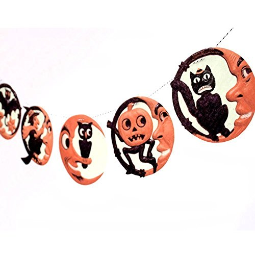 [Handmade Vintage Man in the Moon Halloween Garland - photo reproductions on felt] (Cute Halloween Pictures Of Cats)