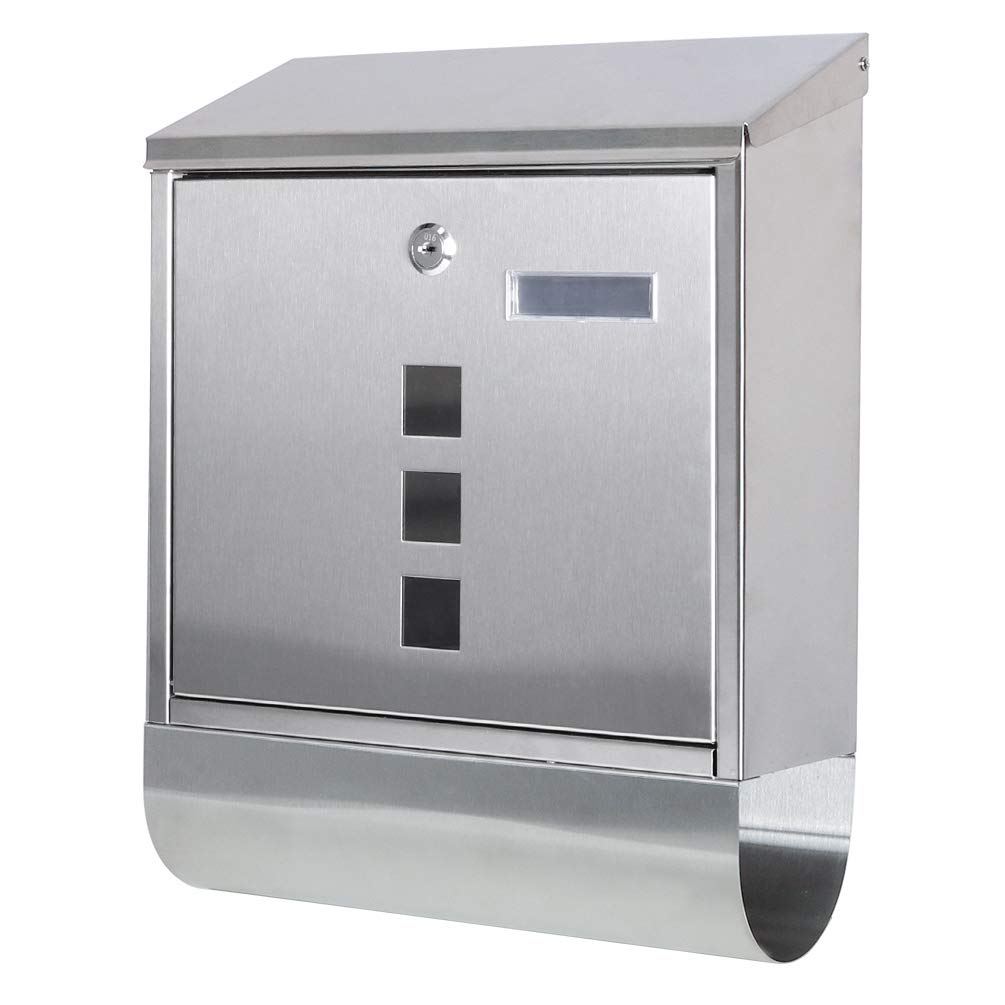Decaller Stainless Steel Mailboxes with Sturdy Key Lock, Wall Mounted Waterproof Mail Box with Transparent Cover, 5 x 15 4/5 x 12 2/5