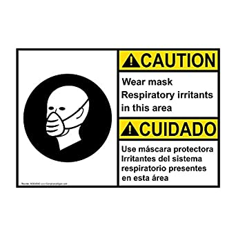 ComplianceSigns Plastic ANSI CAUTION Wear Mask Respiratory Irritants Bilingual Sign, 10 X 7 in.