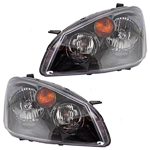 BROCK Driver and Passenger Halogen Headlights Headlamps Replacement for Nissan 26060ZB525 26010ZB525