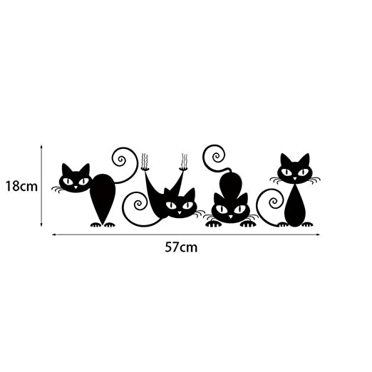 Amazon.com: Adhesivo decorativo para pared de gato negro ...