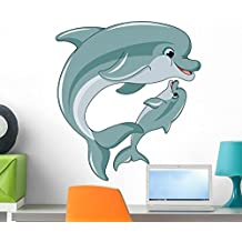 Dolphin Mother and Baby Wall Decal by Wallmonkeys Peel and Stick Graphic (24 in H x 22 in W) WM105003