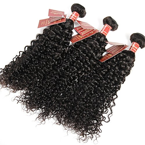 Cheap Curly Wave Virgin Hair Brazilian Human Hair Extensions Curly Weave Unprocessed Real Hair 8A Grade 3 Bundles Natural Black (14″16″18″)