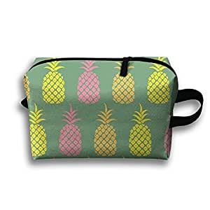 """Pineapple Summer Pattern Travel Storage Pouch Makeup Bag Oxford Cloth Kit Packing Organizer 10""""x4.9""""x6.3"""""""
