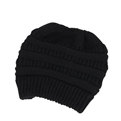 Kingrock Womens Ponytail Cap Warm Beanie Knitted Hat for Messy High Bun Ponytail  Beanie Hat ( 0580d5603060