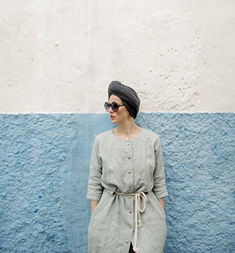 Light Blue Three Quarters Sleeve Shirt Style Women's Linen Robe by SecretsAndThings