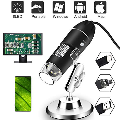 Digital USB Microscope 40X to 1000X, 8 LED Magnification Mini Handheld Endoscope Camera with Stand, Compatible with Windows 7 8 10 Android Mac Linux