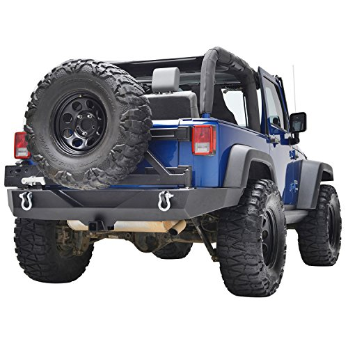E-Autogrilles Jeep Wrangler JK Heavy Duty Full Width Rear Bumper With Tire Carrier