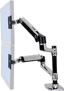 Ergotron – LX Dual Stacking Arm – 13-Inch Pole, Polished Aluminum