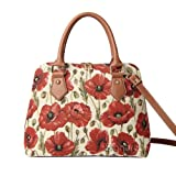 Signare Women's Tapestry Top Handle Handbag Detachable Strap to Convert to Shoulder Bag Poppy Flower (CONV-POP)