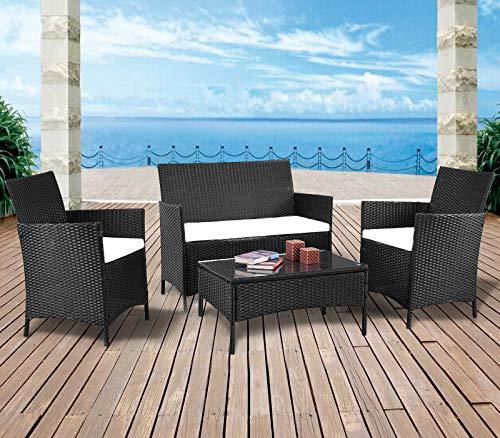 mecor 4PC Outdoor Furniture Set,Rattan Wicker Patio Set Cushioned Sectional Sofa &Glass Coffee Table, Garden,Backyard,Lawn Furniture (Black-4pc)