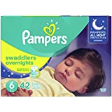 Pampers Swaddlers  Overnights Disposable Baby Diapers Size 6, 42 Count, SUPER