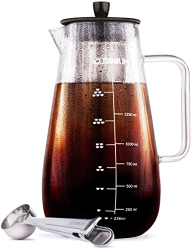 Large Cold Brew Coffee Maker - 1.5 Quart Iced Brewed Tea Maker - Glass Coffee Carafe With Removable Stainless Steel Filter - Fruit infuser pitcher - Includes Scoop & Clip Spoon