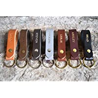 Personalized Leather Keychain — Custom Initials/Name — Gift for Men & Women — Ships Free! — Monogrammed, Customized Key Ring Accessories — Cute, Boho Key Strap or Cool Car/Motorcycle Fob Engraved