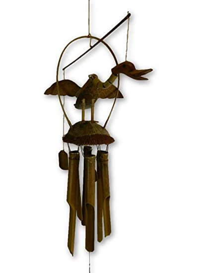 Hand Carved Wood DUCK Bird Bamboo Coconut Garden Wind Mobile Fair Trade Crafted