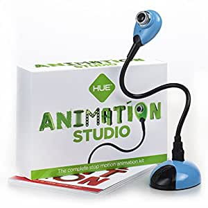 HUE Animation Studio (Blue) for Windows PCs and Apple Mac OS X: complete stop motion animation kit with camera, software and book