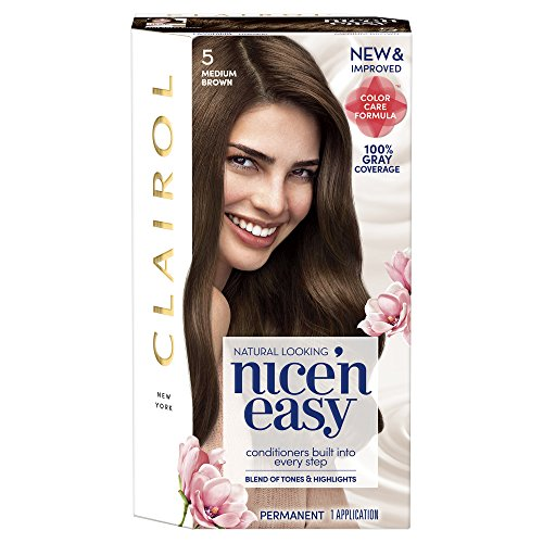 Clairol Nice 'n Easy, 5/118 Natural Medium Brown, Permanent Hair Color, 1 Kit (Pack of 3) (Packaging may vary) - Five Color Natural