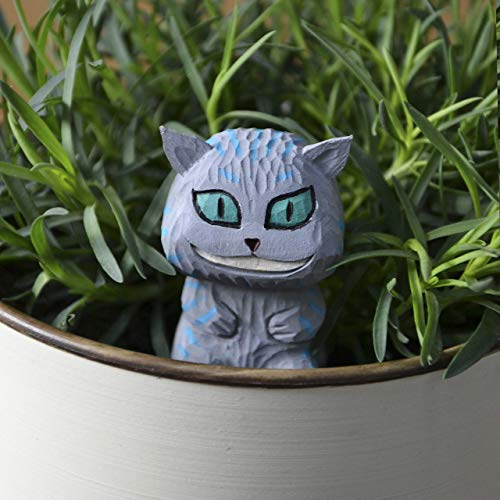 - Cheshire Cat Mini Wood Landscape Figure Alice in Wonderland Handmade Mini Garden Decoration on Metallic Stake The Best Idea of Potted Plant Décor Crafr for Home DIY Cute Wood Furniture
