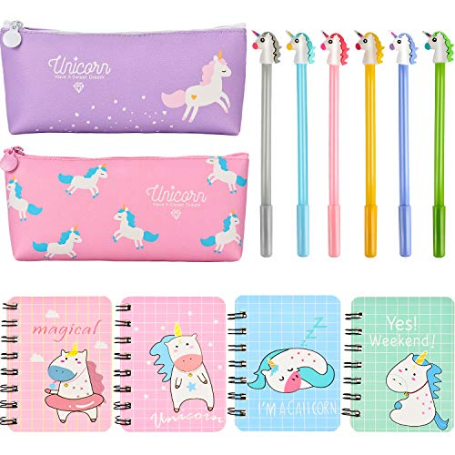 Kids School Supplies (Jovitec 12 Pieces Unicorn Stationery Set, Include 4 Pieces Unicorn Notebooks, 6 Pieces Unicorn Pens and 2 Pieces Pencil Bags for Kids Home School)