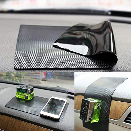 New Anti-Slip Non-Slip Mat Car Dashboard Super Sticky Pad Anti-Slip Gel Pad, Cell Phone Mount Holder Mat by ZhuTook for GPS, Sunglasses, Keys and More (Car Square Pattern, 11'X6.7')