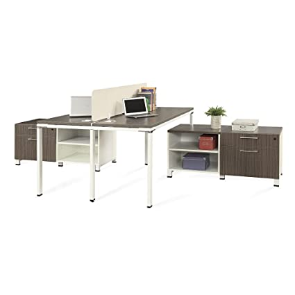 Amazon Com 59 W Two Person Workstation With Storage Driftwood